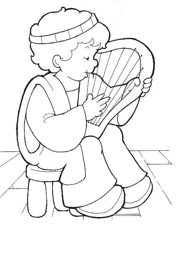 cute David playing his harp (i.e. I Samuel 16-19