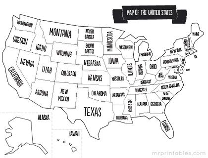printable map of usa with states names. also comes in color, but this ones perfect to use as a coloring