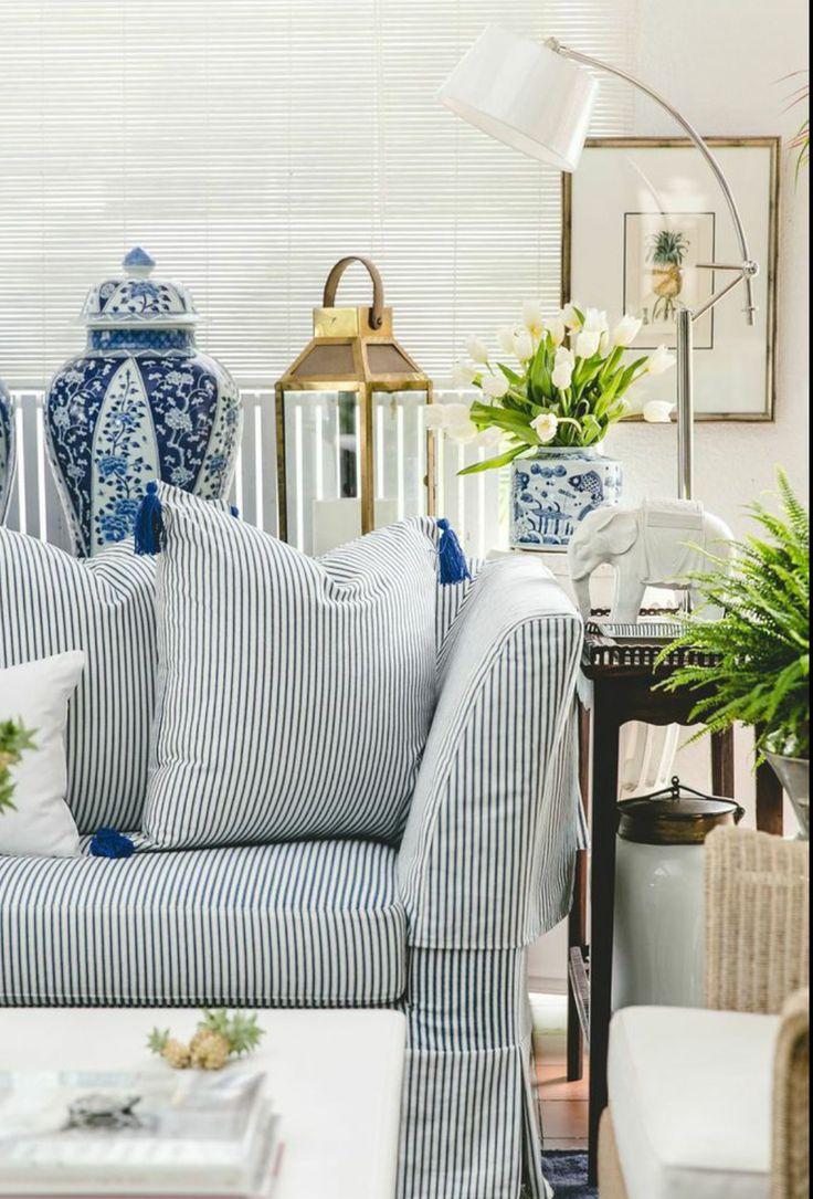 Decorating With Blue and White Ceramics  Ralph lauren Jars and Fabrics