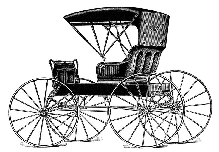 vintage horse buggy clip art, black and white clipart