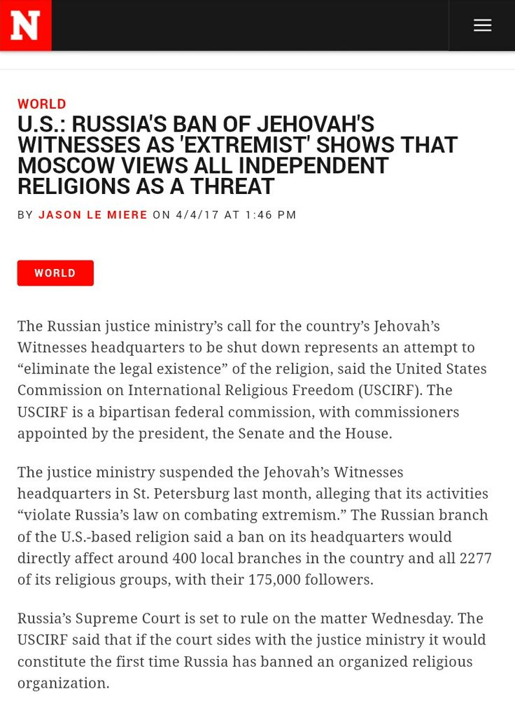 Httpwwwnewsweekcomrussia Jehovahs Witnesses Ban