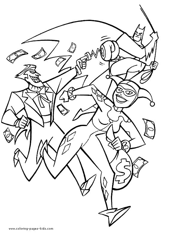 Batman color page cartoon characters coloring pages, color