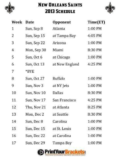 1000+ ideas about New Orleans Saints Schedule on Pinterest