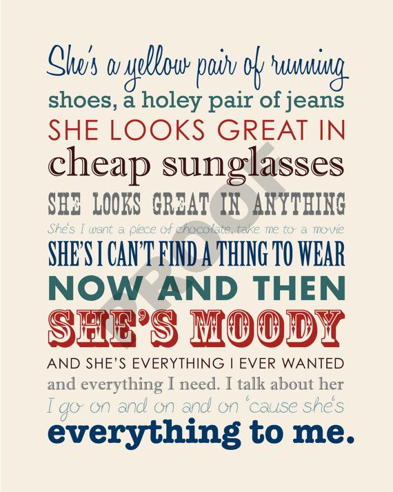 Kenny Chesney Quotes Wallpaper Brad Paisley Quot She S Everything Quot Printable Lyrics Artwork