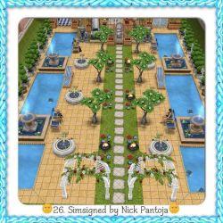 sims freeplay pool garden grass sim play strip pavers backyard making houses gardening layout