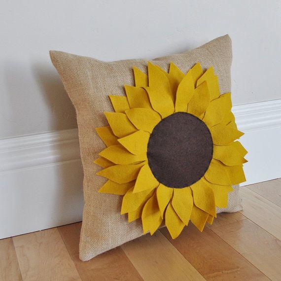 Sunflower Pillow Burlap Pillow  Fall Pillow  Summer