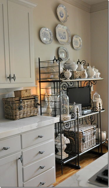 kitchen bakers rack black and white tile 44 best images about ideas for decorating on ...
