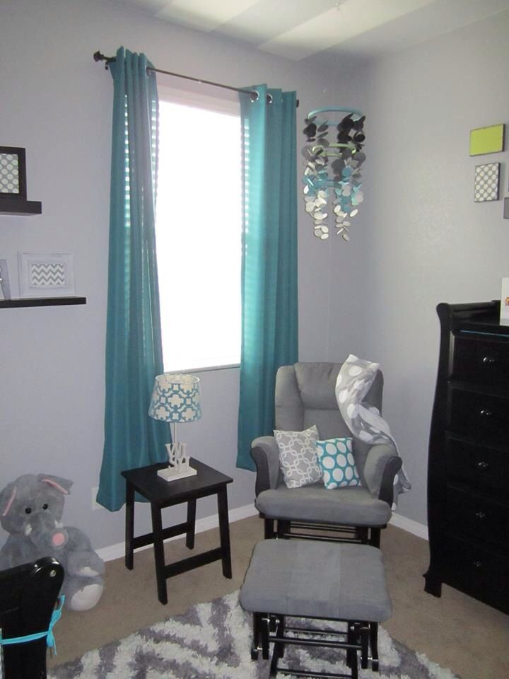 boy nursery teal  Grey chevron and teal or turquoise boys nursery or room with black