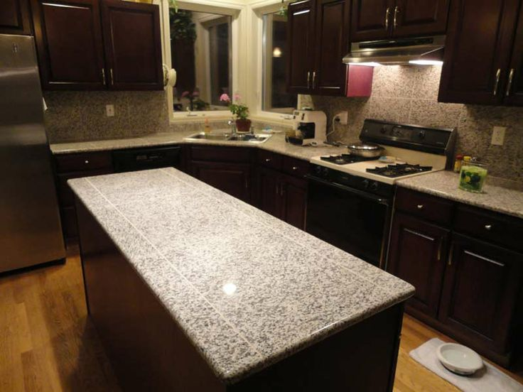 Island Top Finished using Bullnose and Tiles in White Tiger  Lazy Granite in Action  Pinterest