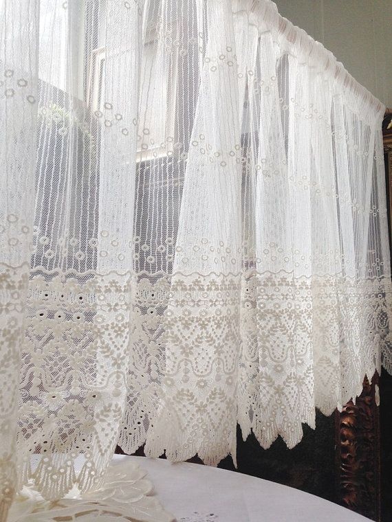 cafe curtains for kitchen tables cheap white embroidery lace valance curtain - one panel 59 ...