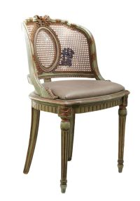 Antique Reupholstered Cane-Back Vanity Chair | Antiques ...