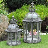 Rustic Shabby Chic Country STLISH Set of 2 Garden Lanterns ...