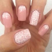 pink nail with white lace wedding