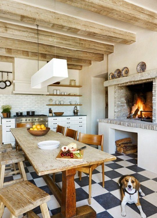 Kitchen Fireplaces Eclectic Cozy Ideas