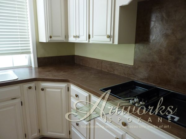 Skimstone over laminate countertop and tile backsplash