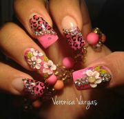 blinged pink nails bling