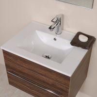 Aspen 600 Wall Mounted Walnut Vanity Unit | Small Bathroom ...