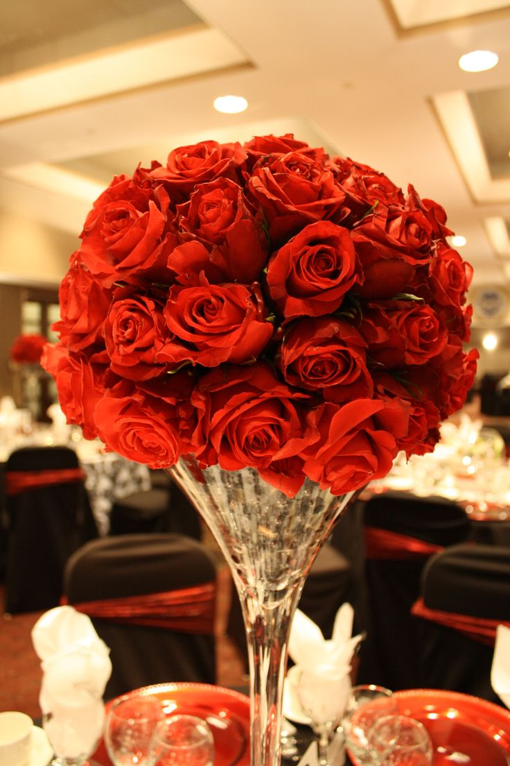 Classy Red Rose Half Topiary Ball On Tall Martini Vase By