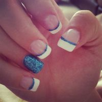 Blue acrylic nails! Sparkles French tip