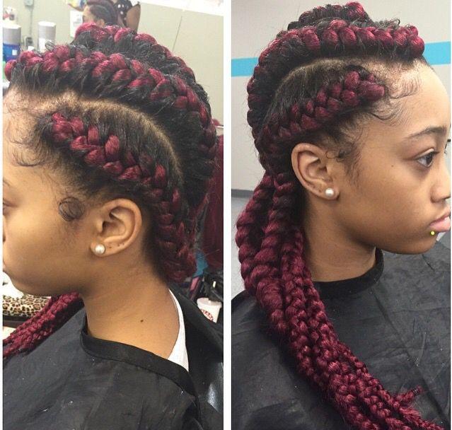 Red Cornrow Braids With Weave Braids Pinterest Cornrow