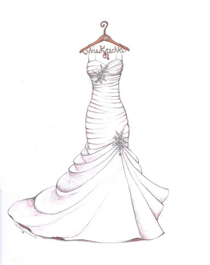 Wedding dress sketch with personalized hanger by Catie