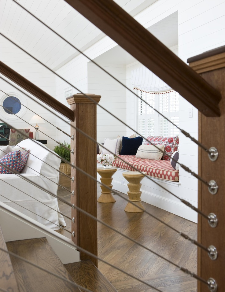 Cable railing indoor staircase