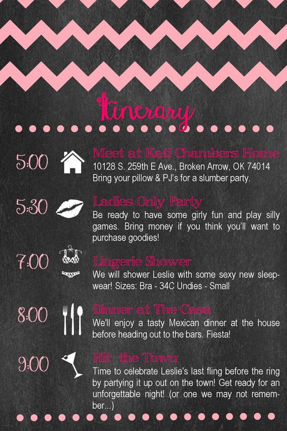 Custom Bachelorette Party Itinerary Chevron  by TownleyDesigns 2000  party planning