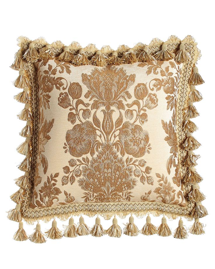 "Bellissima Floral Pillow with Tassel Trim, 18""Sq., Ivory"