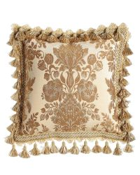 "Bellissima Floral Pillow with Tassel Trim, 18""Sq., Ivory ..."