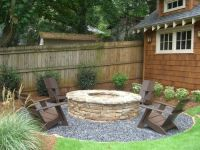 Inexpensive Backyard Landscaping and fire pit for those ...