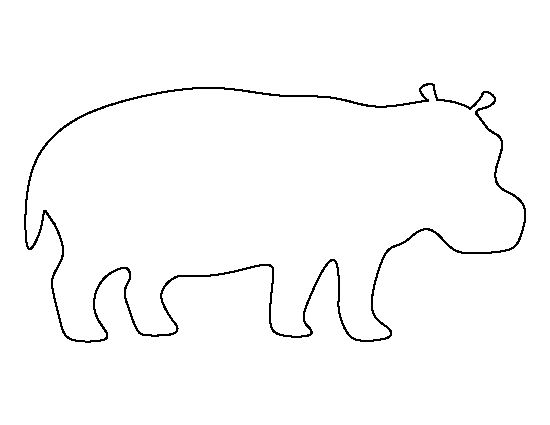 Hippo pattern. Use the printable outline for crafts