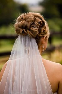 bridal hair updo with veil