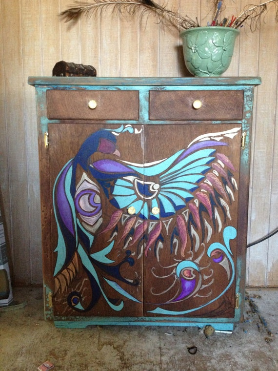 Hand Painted Bird Vintage Dresser by GypsySour on Etsy, $3900.00
