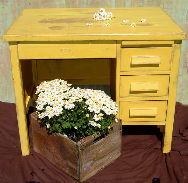 Rustic Office Desk Small Wood Vintage Painted Yellow