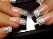 silver glitter french manicure