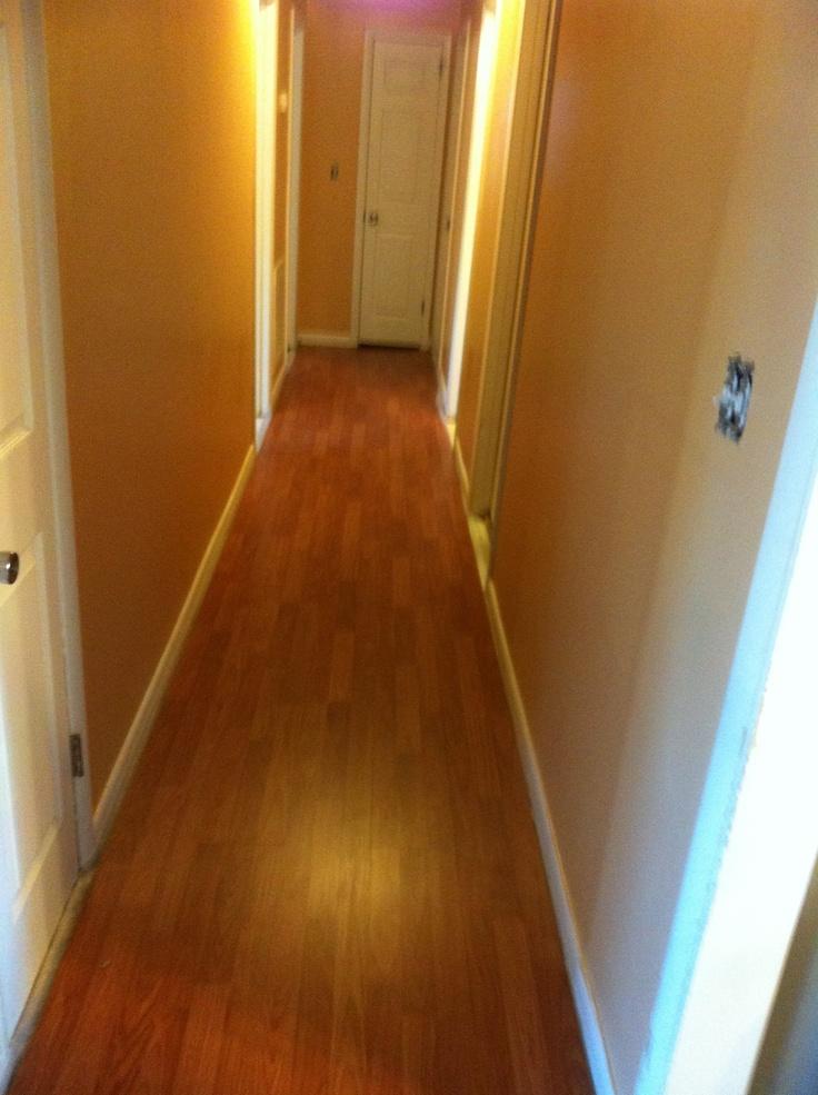 Valspar Lyndhurst Gothic Tan Paint With Oiled Gunsmoke Laminate Flooring I LOVE My New Hallway