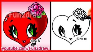 draw easy fun2draw things fun heart valentine drawings drawing rose cartoon valentines flower stuff simple cartoons holiday lessons chibi roses