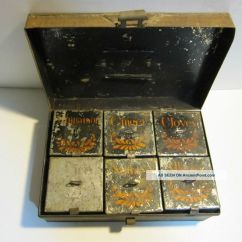 Primitive Kitchen Cabinets Redo Antique Victorian Tin Hinged Spice Box Container ...