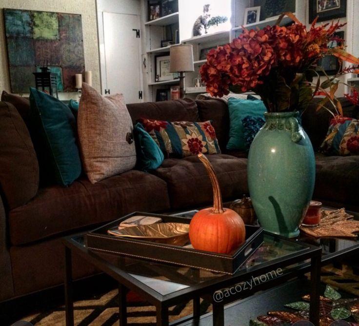 Rustic fall living room decor earth tones fall decor