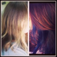 Peekaboo blue highlights | hair color ideas | Pinterest ...