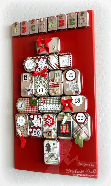 advent calendar using mini altoid tins plus supplies from Taylored Expressions–to keep in mind for next season! I love advent