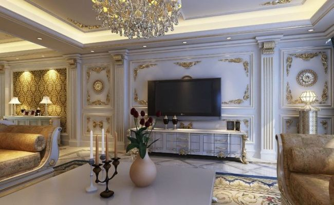 European Style Luxury Living Room Interior Design With