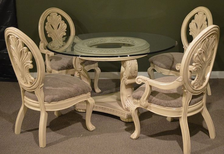 54 Round Glass Top Dining Room Table W4 Chairs Neo