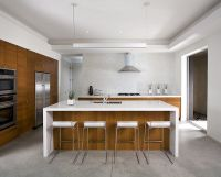 Mid-Century | Countertops, White quartz and Wood cabinets