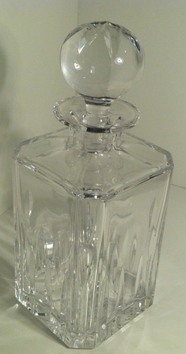 Vintage Crystal Clear Glass Square Cut Whiskey Spirits Decanter Squares Crystals And Vintage