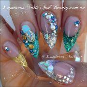 luminous nails & beauty gold coast qld. beach ocean nails. nail art design. sculptured acrylic
