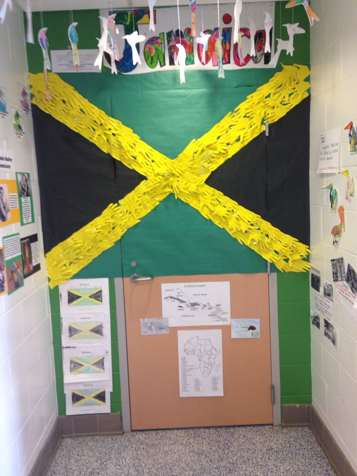 Jamaica classroom door decoration for black history month