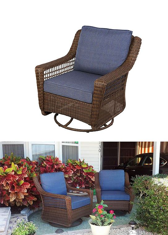 wicker porch chair cushions hanging stand for sale hampton bay spring haven brown all-weather patio swivel rocking with sky blue ...