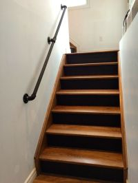 gas pipe railing, walnut stairs, black risers | Gas Pipes ...
