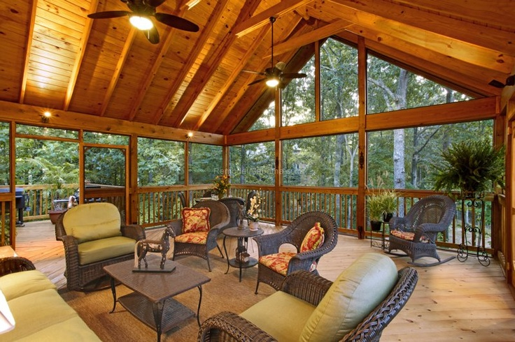 Screen porch exposed rafter gable ceilings and grilling deck Precision Homecrafters